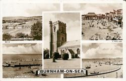 5 insets PANORAMIC VIEW SAND BAY/THE SEA FRONT AND BEACH/THE CHURCH/THE PADDLING POOL/THE MARINE LAKE