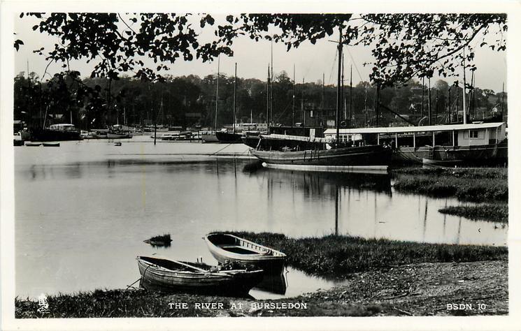 THE RIVER AT BURSLEDON  row boats centre front