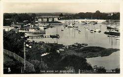 THE RIVER AT BURSLEDON  distant view of bridges