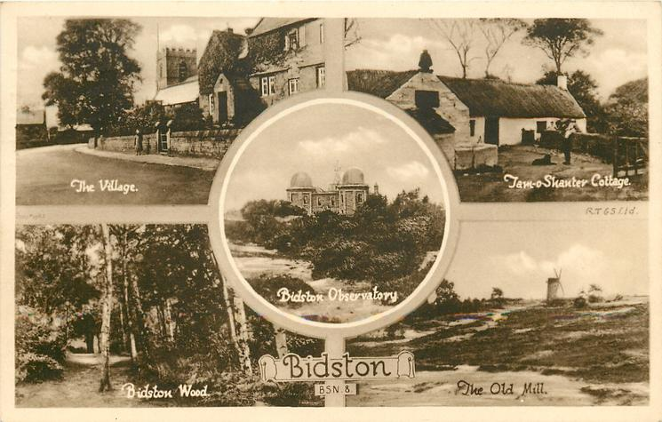 5 insets THE VILLAGE/TAM-0-SHANTER COTTAGE/BIDSTON OBSERVATORY/BIDSTON WOOD/THE OLD MILL