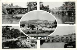 5 insets  IRFON BRIDGE/SUSPENSION BRIDGE/BUILTH WELLS AND LLANELWEDD ROCKS/RIVER WYE/WYE BRIDGE