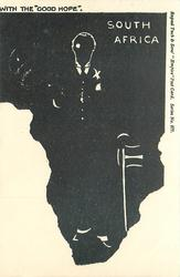 "SOUTH AFRICA WITH THE ""'GOOD HOPE""  map of Africa in black, intaglio of Chamberlain & flag"