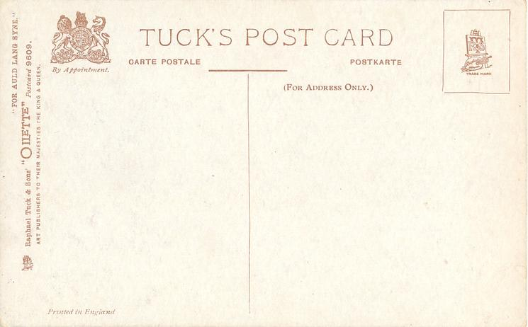 FOR AULD LANG SYNE thistles in flower, no gemstone on tartan bow, stalks centre left