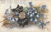 blue campanulas, tartan bow with gemstone, stalks left