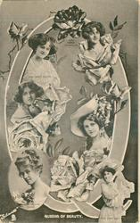 Q, QUEENS OF BEAUTY, six actresses,PAULINE CHASE, ZENA DARE, GABRIELLE RAY, GERTIE MILLAR, NINA SEVENING, MARIE STUDHOLME