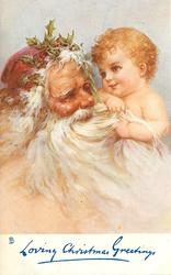 LOVING CHRISTMAS GREETINGS  Santa's head & cherub holding his beard