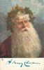 A MERRY CHRISTMAS  Santa head and shoulders, with crown of holly