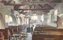 GRASMERE CHURCH (interior of church, man and woman standing in the aisle)