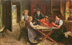 DAS NEUE BRUSTTUCH  salesman shows cloth to woman & two children