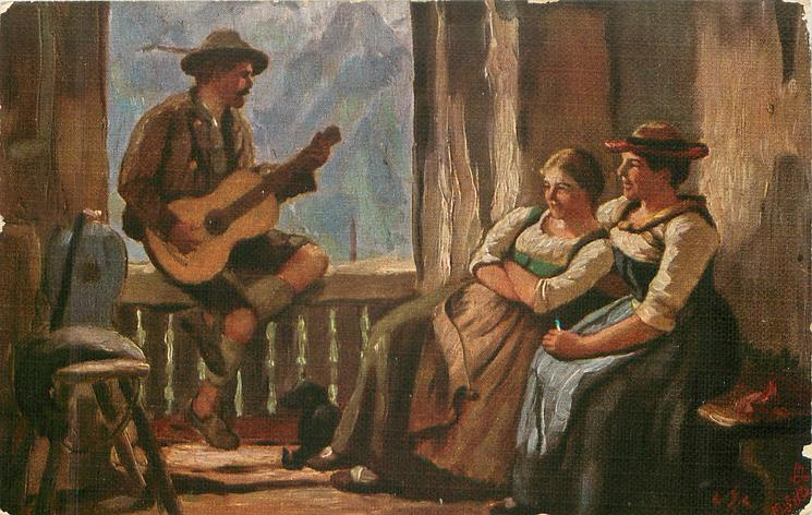man sits on window sill playing instrument for two seated girls