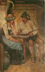 man & woman sit at table, he prepares to eat from long handled pan