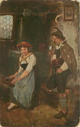 man stands on one leg right smoking pipe, woman sits left playing instrument, she glances at him