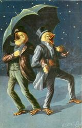two drunken chicks sing to the stars under umbrella facing away from each other