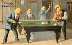 two male chicks play billiards with eggs, another referees & another scores
