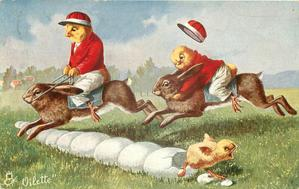 two chicks dressed as jockeys ride hares over hazard of eggs-chick hatches from one egg