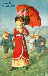 three chick children follow & jeer at lady chick in red robe, fancy hat under red umbrella