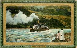 STEAMER SHOOTING RAPIDS, WANGANUI RIVER