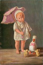 unhappy doll-baby stands facing front holds parasol, toy duck & two chicks right