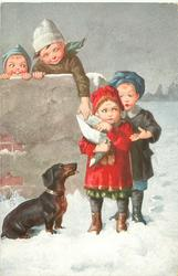 two boys pester girl for handout, one from behind, one from above over wall, another girl observes from behind the wall,  dachshund begs lower left