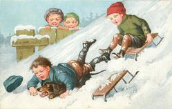 two boys toboggan down hill, one falls off on top of dachshund, two children observe from behind fence back left