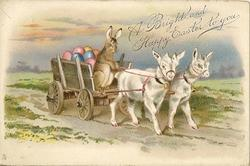 A BRIGHT AND HAPPY EASTER TO YOU rabbit drives cart pulled by two kids
