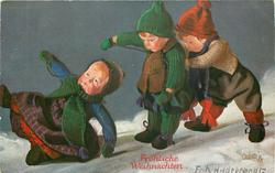 three doll children slide left, one in front has just fallen