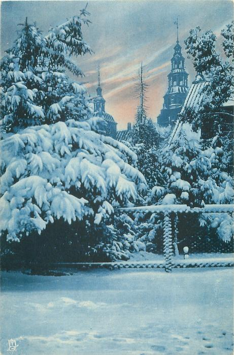 snow scene, conifers in front, church steeples behind