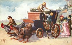 chick coachman rides hen at front of coach, chick servants unload basket of eggs, 3 chick people gossip behind, 2 hens wait to pull coach