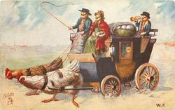chick coachman sits next to chick lady on front of coach, chick boy blows horn behind, 2 hens pull coach left