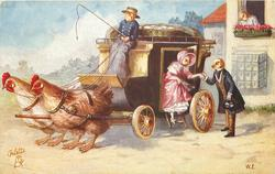 chick coachman sits at front of coach, chick lady descends aided by chick man carrying top hat, 2 hens wait to pull coach