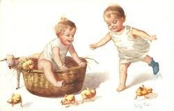 girl climbs out of basket, another moves from right to left, chicks around, lamb behind basket
