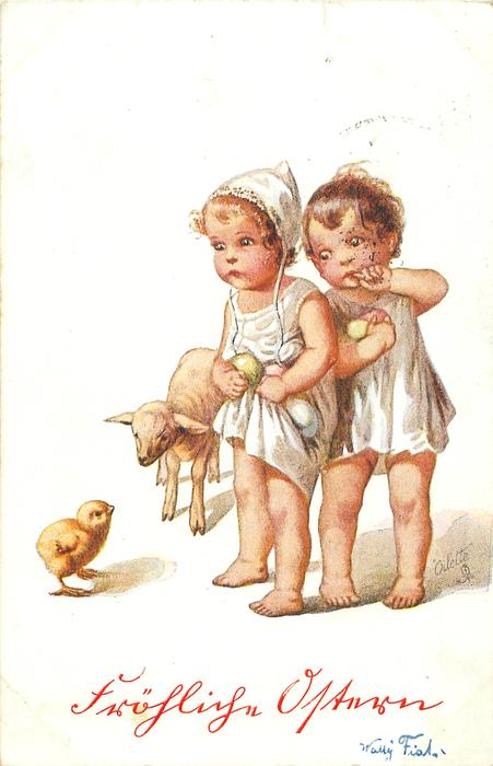 two girls stand holding Easter eggs, lamb & chick left