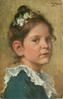head & shoulders study of pretty girl, wearing blue dress with white lace collar, facing right looking front
