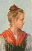 head & shoulders study of pretty girl, wearing red collar, facing front looking right