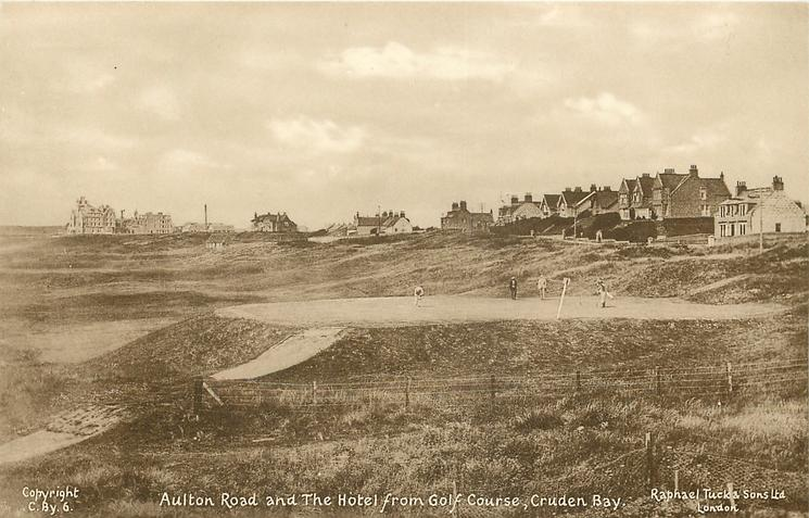 AULTON ROAD AND THE HOTEL FROM THE GOLF COURSE  golfers on green