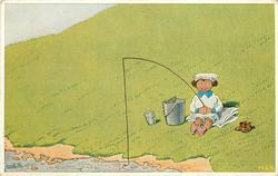 young girl fishes from grassy bank