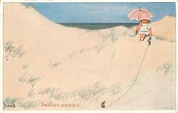 INS GARD GEGANGEN girl on sands  under umbrella with knitting , bird sits on ball of wool