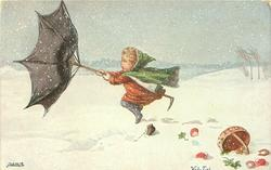 girl holds on with difficulty to wind-blown umbrella in snow, spilt basket with mushrooms, horseshoe lower right