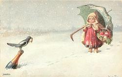 girl stands with green umbrella in snow, carries basket of mushrooms & clover, magpie holding horseshoe in bill