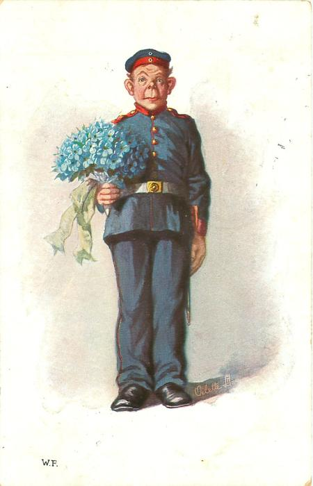 soldier in ill-fitting uniform holds large bouquet of blue forget-me-not, he faces front