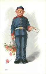 soldier in ill-fitting uniform holds out letter with one hand, bouquet of roses in the other, he faces front