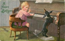 child and dachshund playing piano, dachshund standing at piano