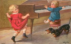 two children, one dances, one at piano, dachshund barks