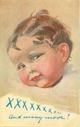 XXXXXXXXXXX  AND MANY MORE!  coy child tilts head to left, looking front, also comes with inscription of x's only