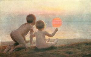 """DAWN or """"DAWN!"""" two children on beach admire the rising sun"""