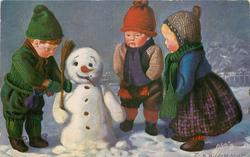 snowman admired by the doll-children, boy-doll ajusts his broom