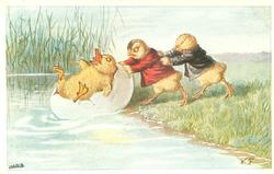 two chicks attempt to launch a protesting duckling in an egg boat