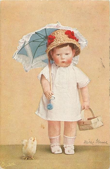 ICH MACHE EINKAUFE FUR MAMA  doll-girl stands looking front carrying parasol & basket, toy chick in front