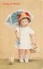 GOING TO MARKET   doll-girl stands looking front carrying parasol & basket, toy chick in front