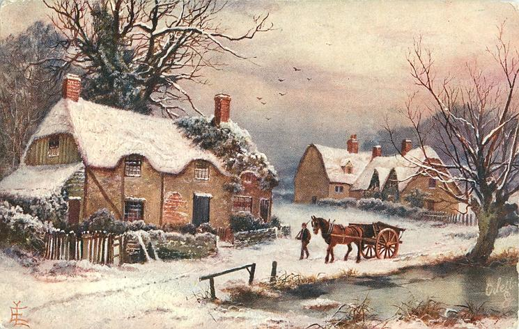 man leads horse & cart down village street ,by pond
